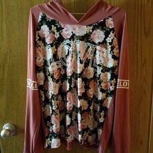 Marci LOVE Top, Long Sleeve, w/hood, floral XL